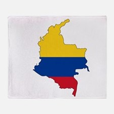 Colombian Flag Silhouette Throw Blanket