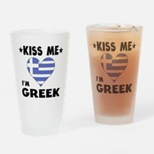 Kiss Me I'm Greek Drinking Glass