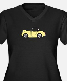 Light Yellow Women's Plus Size V-Neck Dark T-Shirt