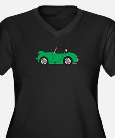 Green Frogey Women's Plus Size V-Neck Dark T-Shirt