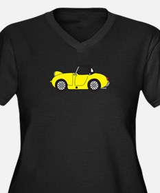 Yellow Froge Women's Plus Size V-Neck Dark T-Shirt
