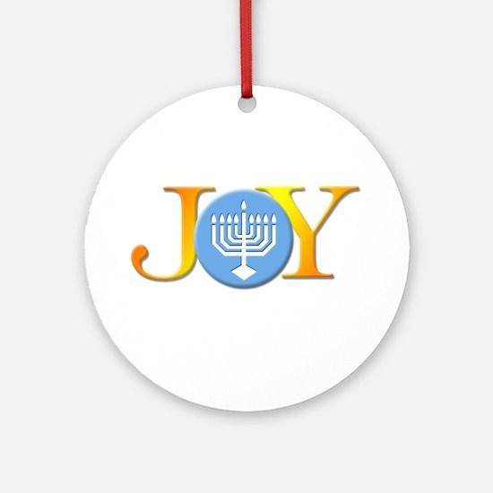 Joy_Menorah.jpg Round Ornament