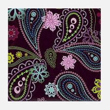PAISLEY AND FLOWERS ON EGGPLANT Tile Coaster