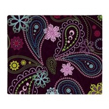PAISLEY AND FLOWERS ON EGGPLANT Throw Blanket