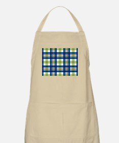 Blue Green Plaid Apron