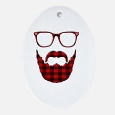 Cute Red plaid Oval Ornament