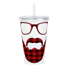 Cute Red plaid Acrylic Double-wall Tumbler