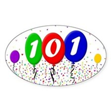 101st Birthday Oval Decal