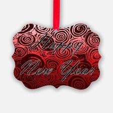 Happy New Year Red Swirls Ornament