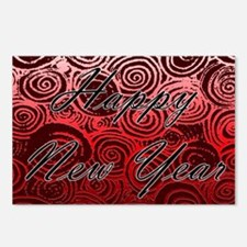 Happy New Year Red Swirls Postcards (Package of 8)