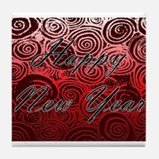 Happy New Year Red Swirls Tile Coaster