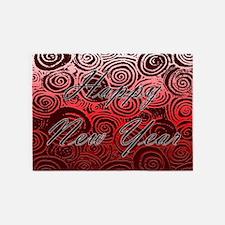 Happy New Year Red Swirls 5'x7'Area Rug