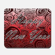 Happy New Year Red Swirls Mousepad