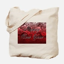 Happy New Year Red Swirls Tote Bag
