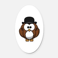 Cute Owl pink Oval Car Magnet