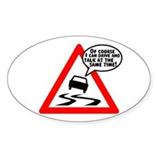 Mobile Phone Driving Oval Decal