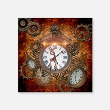 Steampunk, clock with cute giraffe Sticker