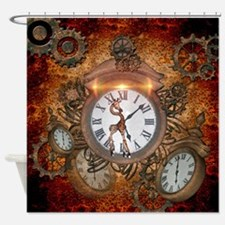 Steampunk, clock with cute giraffe Shower Curtain