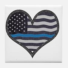 Cool Blue line Tile Coaster
