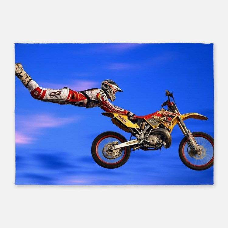 Motocross Freestyle 5'x7'Area Rug