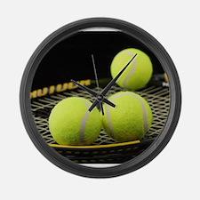 Tennis Balls And Racquet Large Wall Clock