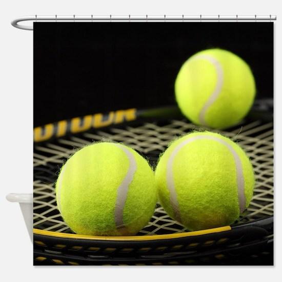 Tennis Balls And Racquet Shower Curtain