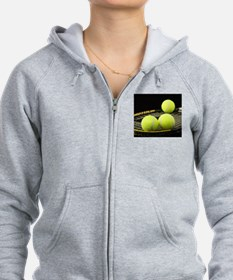 Tennis Balls And Racquet Zip Hoody