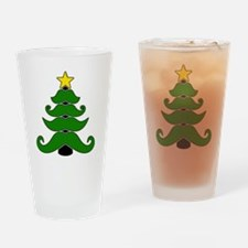 Mustache christmas tree Drinking Glass