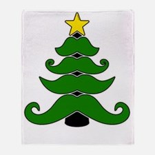 Unique Mustache christmas tree Throw Blanket