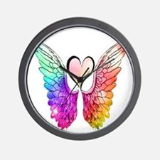 Angel Wings Heart Wall Clock