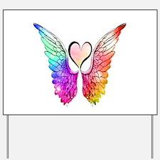 Angel Wings Heart Yard Sign