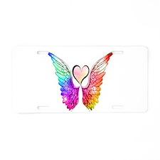 Angel Wings Heart Aluminum License Plate