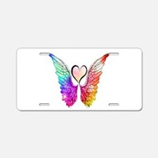 Angel Wings Heart Aluminum License Plate