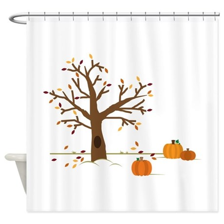 Fall Pumpkins Shower Curtain By Embroidery28
