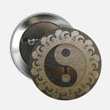 """Yin Yang in tan colors with tree of l 2.25"""" Button"""