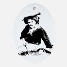 Sexy Cowgirl with Gun Oval Ornament