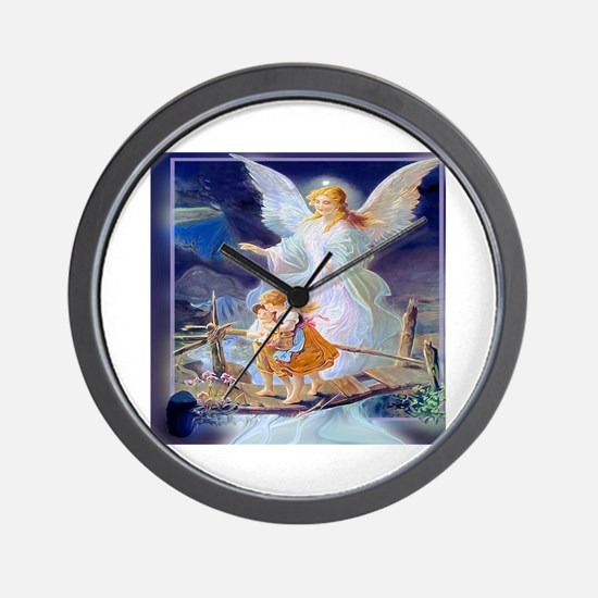 Guardian angel with children crossing b Wall Clock