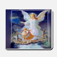 Guardian angel with children crossing br Mousepad