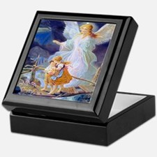 Guardian angel with children crossing Keepsake Box