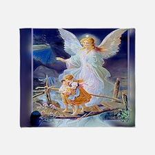 Guardian angel with children crossin Throw Blanket