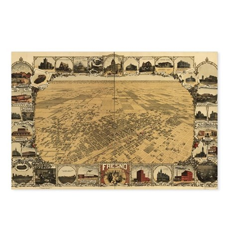 Fresno Antique map Postcards (Package of 8)