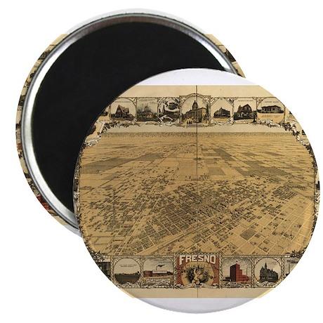 """Fresno Antique map 2.25"""" Magnet (10 pack)"""