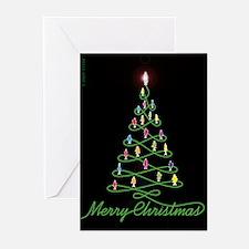 Christmas Tree Neon Fish Greeting Cards(pk Of 10)