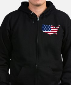 USA Flag Map Zip Hoodie
