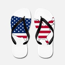 USA Flag Map Flip Flops
