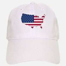 USA Flag Map Baseball Baseball Cap