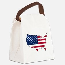 USA Flag Map Canvas Lunch Bag