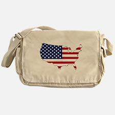 USA Flag Map Messenger Bag