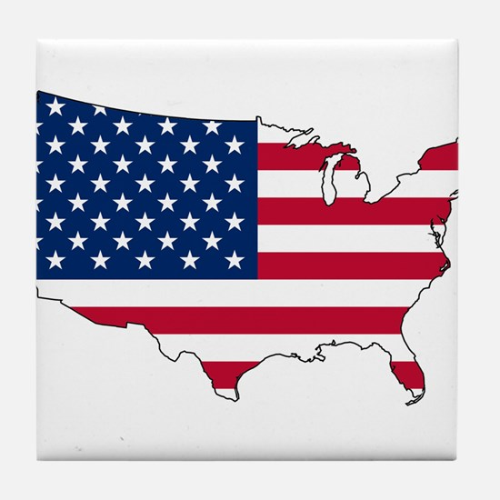 USA Flag Map Tile Coaster