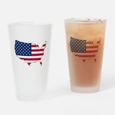 USA Flag Map Drinking Glass